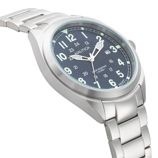 Battery Park Water Resistant Stainless Steel Watch,Rolling River Wash,large