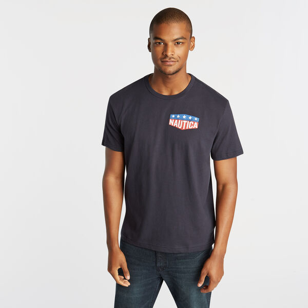 STARS AND ANCHOR GRAPHIC T-SHIRT - Pure Dark Pacific Wash