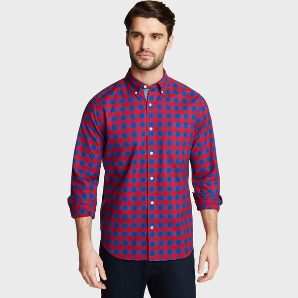 CLASSIC FIT OXFORD SHIRT IN LARGE GINGHAM - Nautica Red