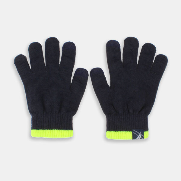 KIDS' CONTRAST TRIM KNIT GLOVES - Navy