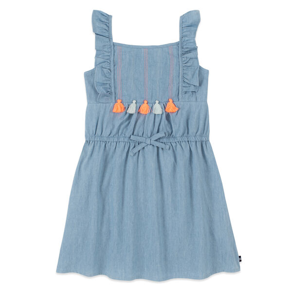 GIRLS' CHAMBRAY TASSEL-TRIMMED SLEEVELESS DRESS (8-20) - Nite Sea Heather