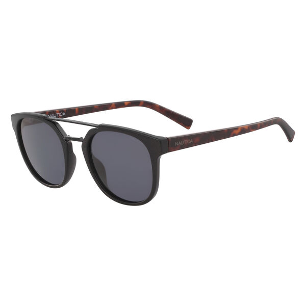 Round Sunglasses with Brow Bar - Black