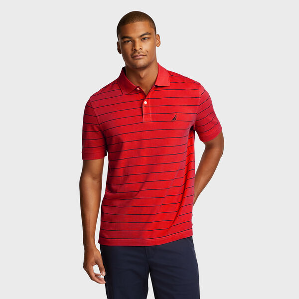 Classic Fit Mesh Polo in Breton Stripe - Nautica Red