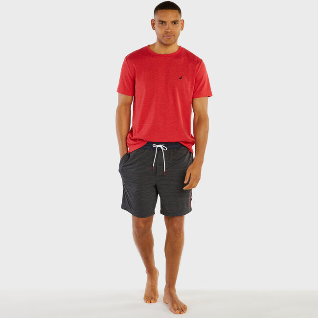 Logo Space-Dye Lounge Shorts,Charcoal Heather,large