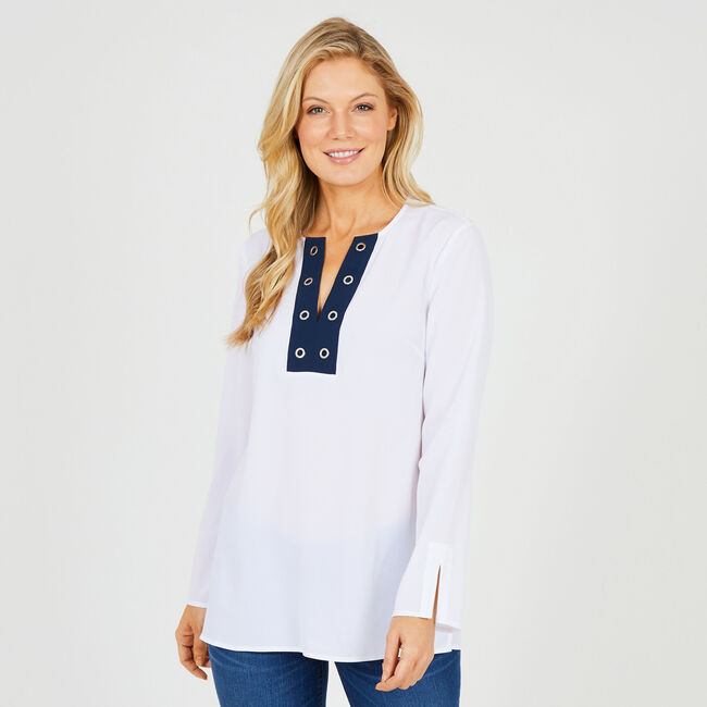 Long Sleeve Tunic with Grommet Placket,Bright White,large