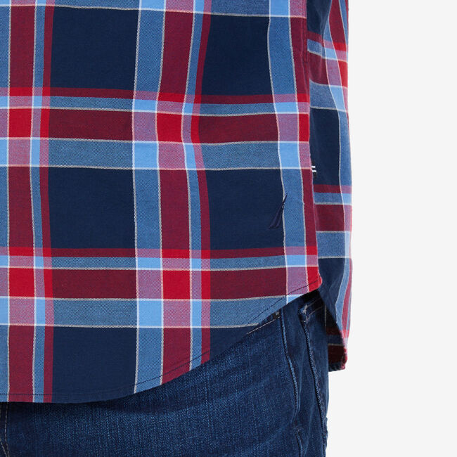 Riviera Plaid Classic Fit Button Down,Nautica Red,large