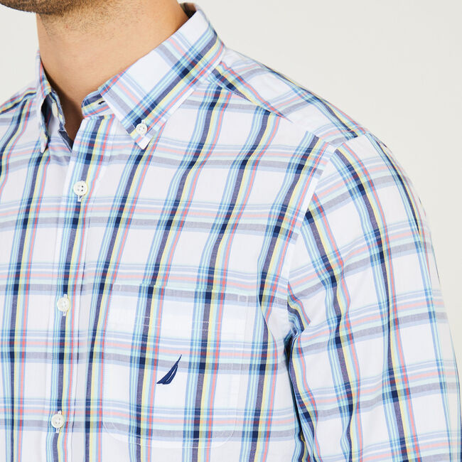 Plaid Classic Fit Long Sleeve Button Down,Bright White,large