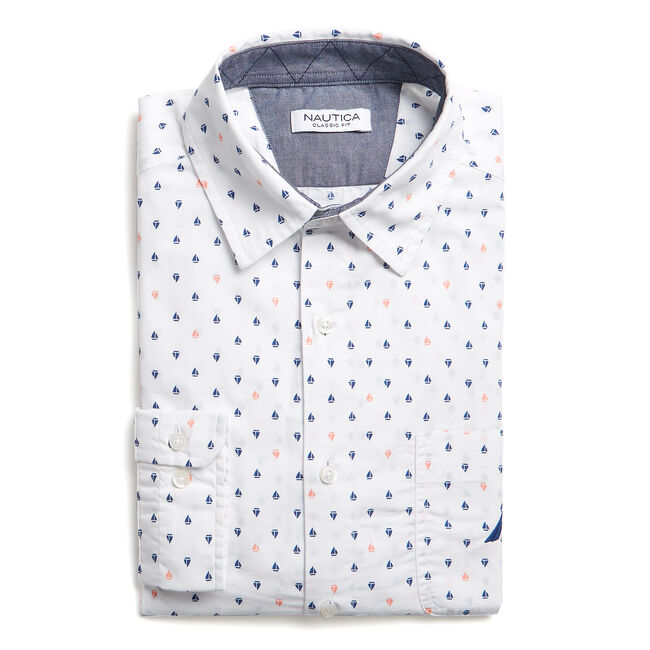 CLASSIC FIT POPLIN SHIRT IN PRINT,Bright White,large