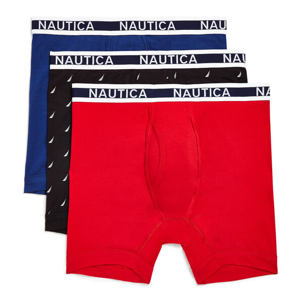 Cotton Stretch Boxer Briefs, 3-Pack - Nantucket Red