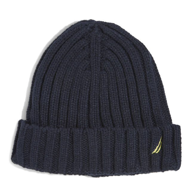 RIBBED KNIT CUFF HAT,Navy,large