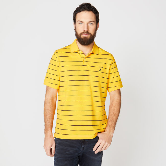 Classic Fit Mesh Polo in Breton Stripe,Heritage Gold,large