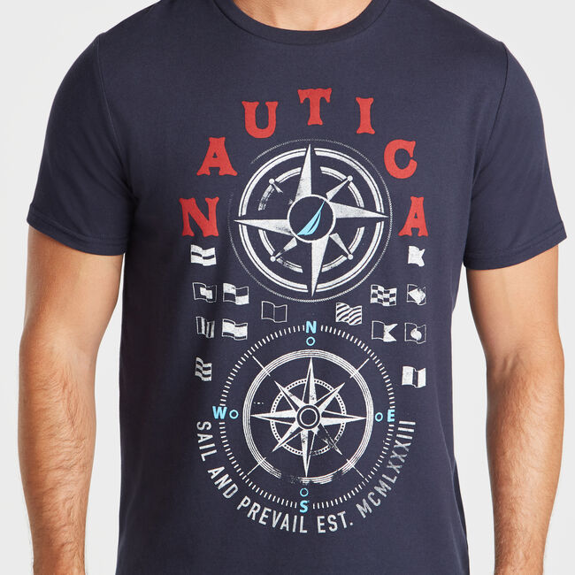 COMPASS GRAPHIC T-SHIRT,Navy,large