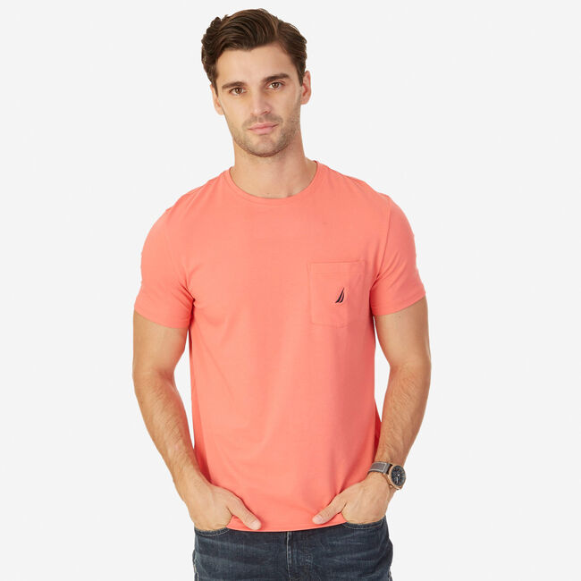 Short Sleeve Tee with Chest Pocket,Dreamy Coral,large