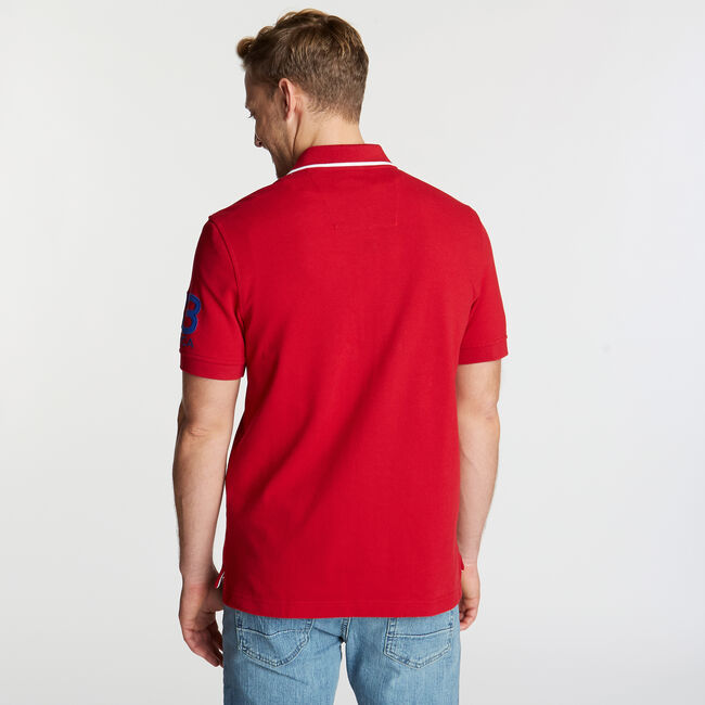 Logo Classic Fit Polo,Nautica Red,large