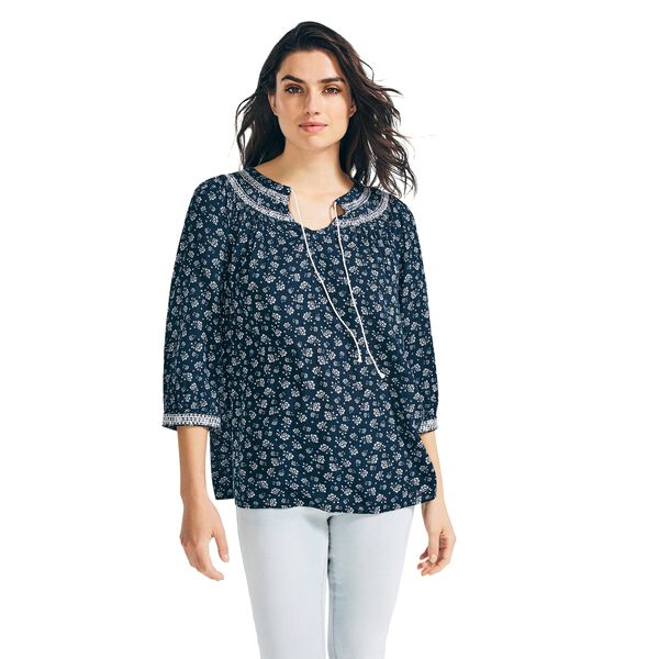 FLORAL EMBROIDERED THREE-QUARTER SLEEVE TOP - Stellar Blue Heather