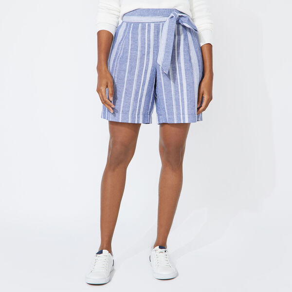 "8"" STRIPED LINEN BLEND HIGH WAIST SHORTS - Limoges"