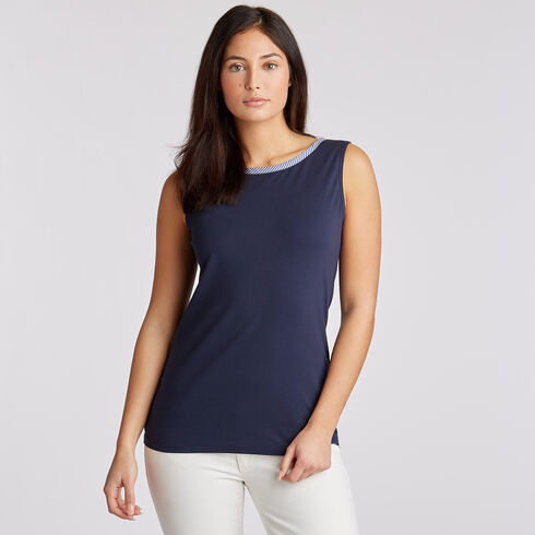 Sleeveless Jersey & Poplin Top - Deep Sea