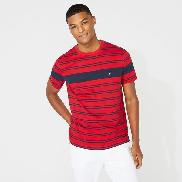 PREMIUM COTTON BOLD STRIPED TEE - Nautica Red