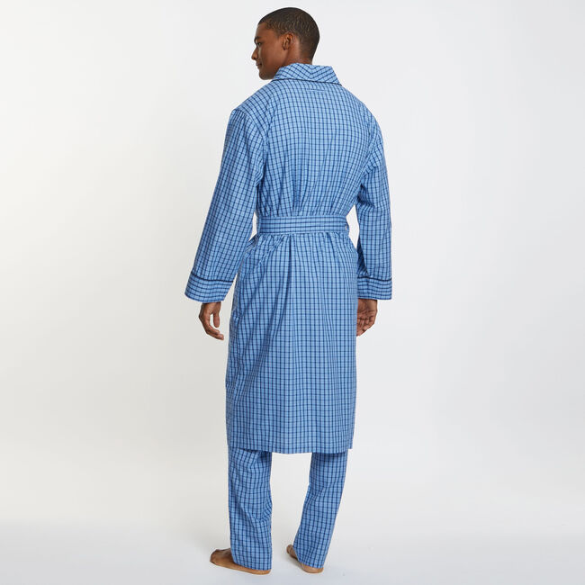 Plaid Woven Robe,Blue Grass,large