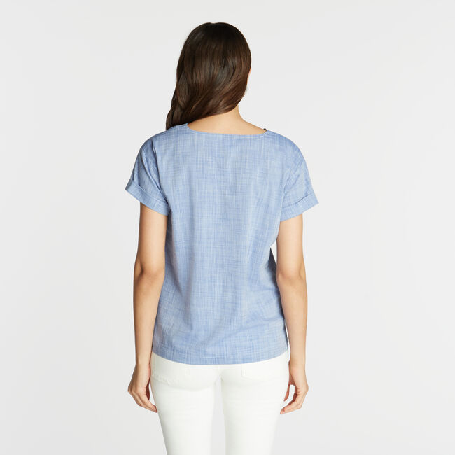 Short Sleeve Embroidered Woven Top,Deep Navy Heather,large