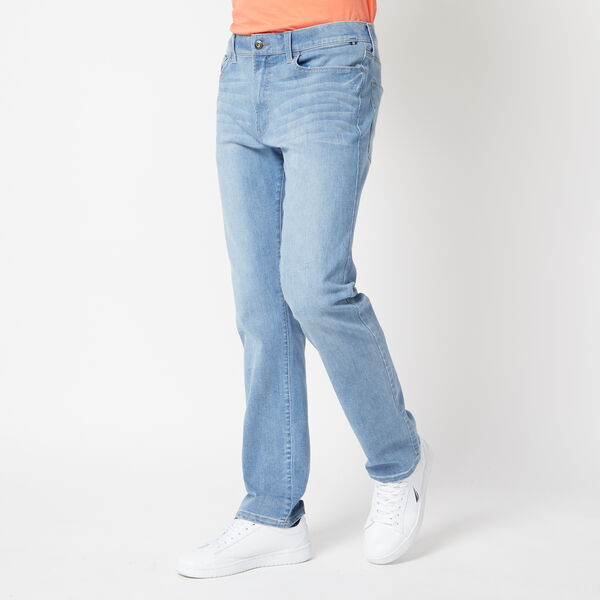 STRETCH STRAIGHT FIT DENIM IN POWDER BLUE WASH - Noon Blue