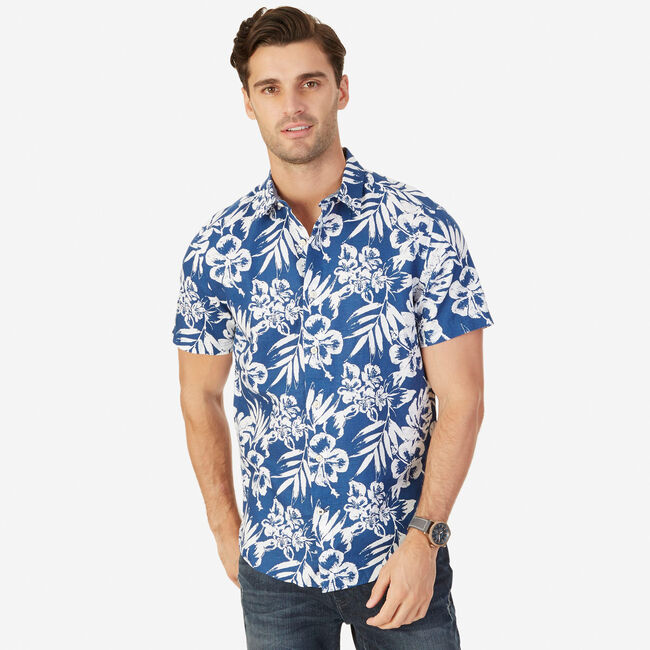 b49a32dc451f62 Big & Tall Linen-Blend Floral Shirt,Estate Blue,large