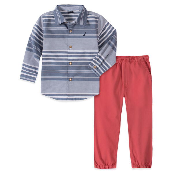 TODDLER BOYS' STRIPED WOVEN PANT 2PC SET (2T-4T) - Chambray