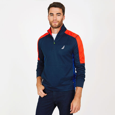 Long Sleeve Mock-Neck Performance Pullover - Navy