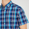 Short Sleeve Classic Fit Plaid Button Down,Monaco Blue,large