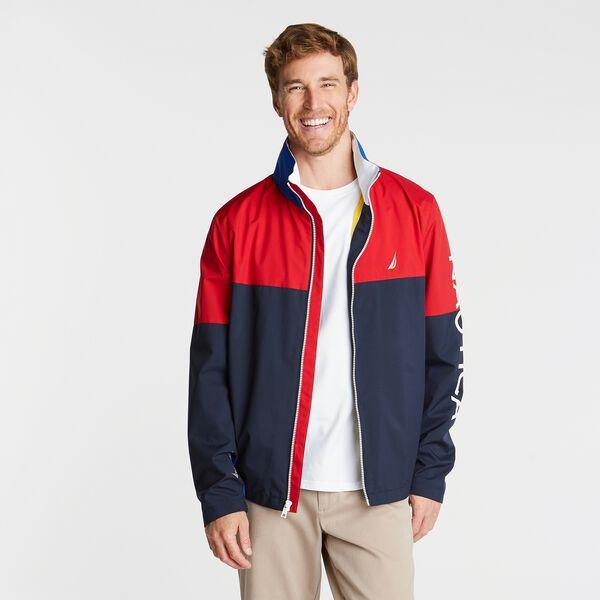 BIG & TALL LIGHTWEIGHT COLORBLOCK BOMBER WITH CONCEALED HOOD - Navy