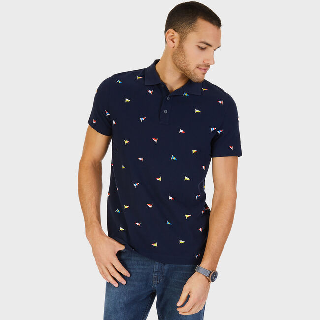 Slim Fit Short Sleeve Embroidered Flag Polo,True Navy,large