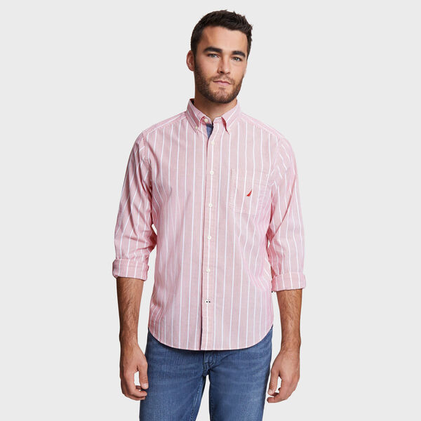 Classic Fit Shirt in Stripe - Firey Red
