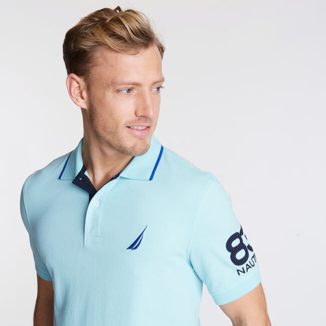 Logo Classic Fit Polo,Medallion Blue,large