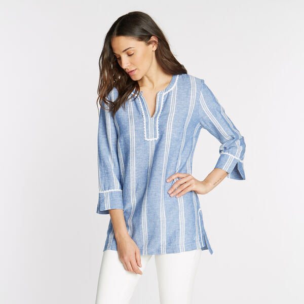 LINEN BLEND TUNIC - Bayberry Blue