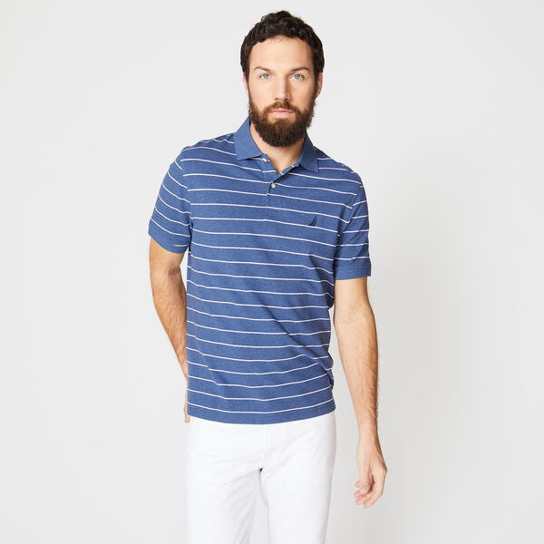 Classic Fit Mesh Polo in Breton Stripe - Stellar Blue Heather