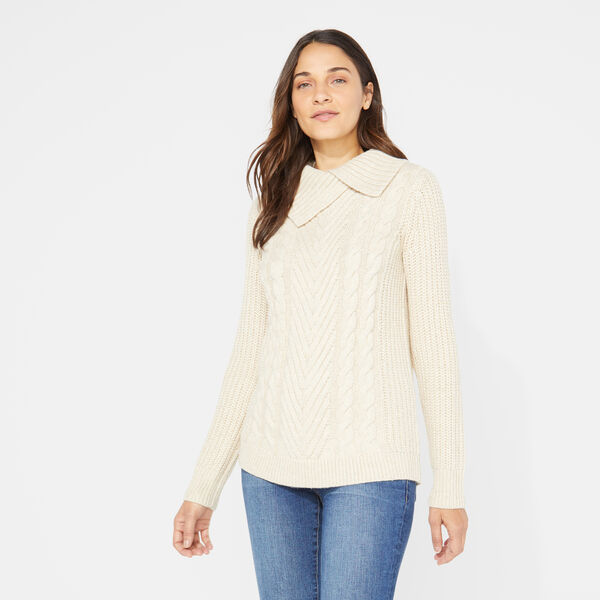 SHAWL COLLAR CABLE-KNIT SWEATER - Camel