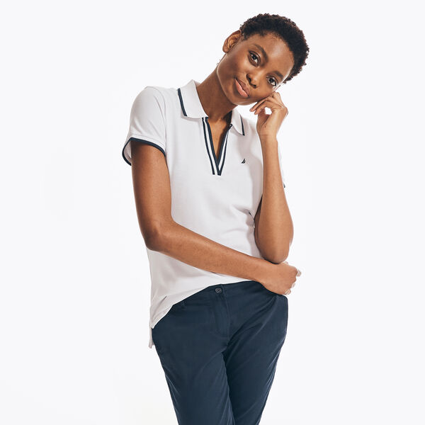 SUSTAINABLY CRAFTED OCEAN SPLIT-NECK POLO - Bright White