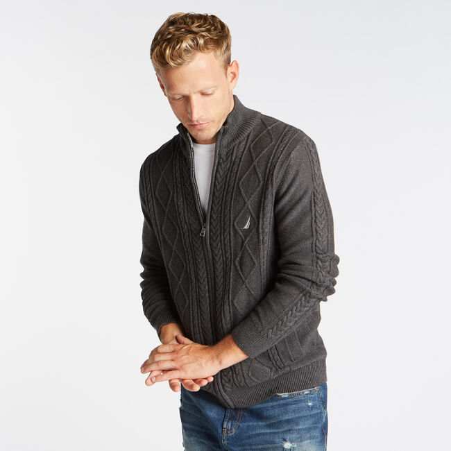 FULL ZIP CABLE KNIT SWEATER,Charcoal Heather,large