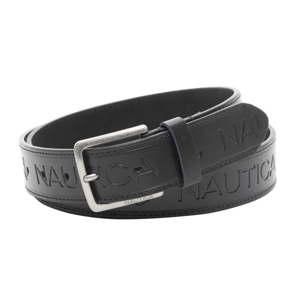 LOGO EMBOSSED BELT IN BLACK - True Black