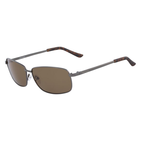 Rectangular Sunglasses with Gunmetal Frame - Sepia