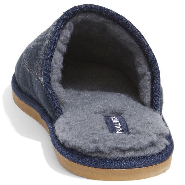 FLEECE LINED SLIPPERS,Navy,large