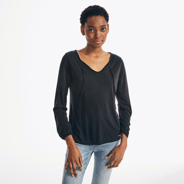 SUSTAINABLY CRAFTED TIE-NECK TOP - True Black
