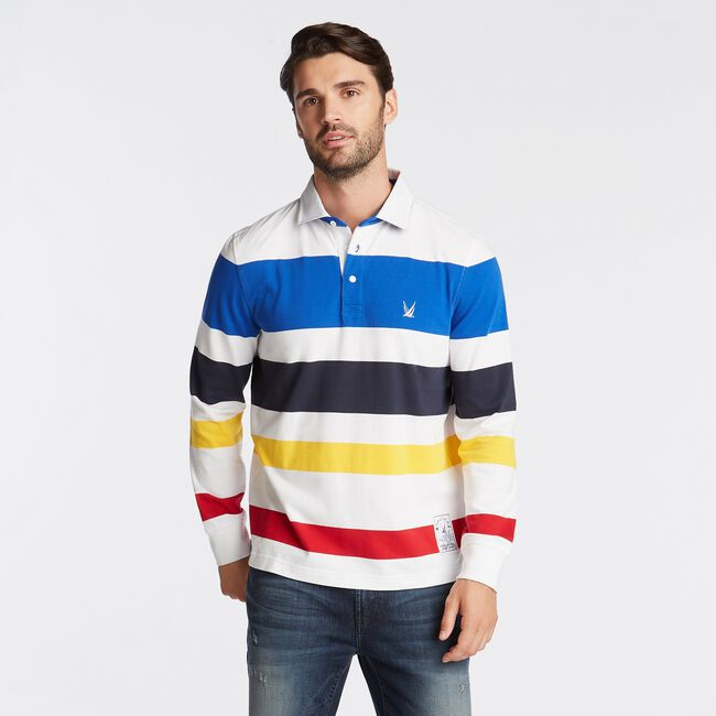 CLASSIC FIT STRIPED LONG SLEEVE RUGBY ,Bright White,large