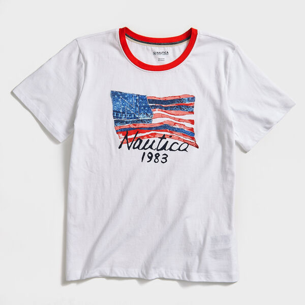 NAUTICA JEANS CO. 1983 FLAG T-SHIRT - Bright White