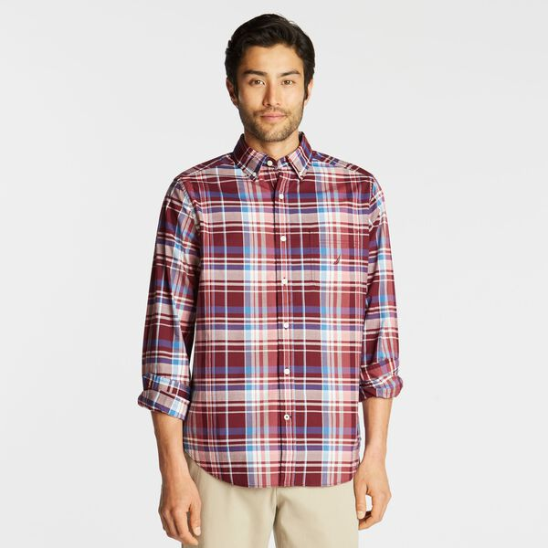 BIG & TALL CLASSIC FIT STRETCH POPLIN SHIRT IN PLAID - Zinfandel