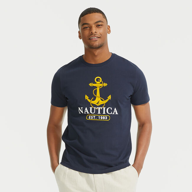 ANCHOR 1983 GRAPHIC T-SHIRT,Navy,large