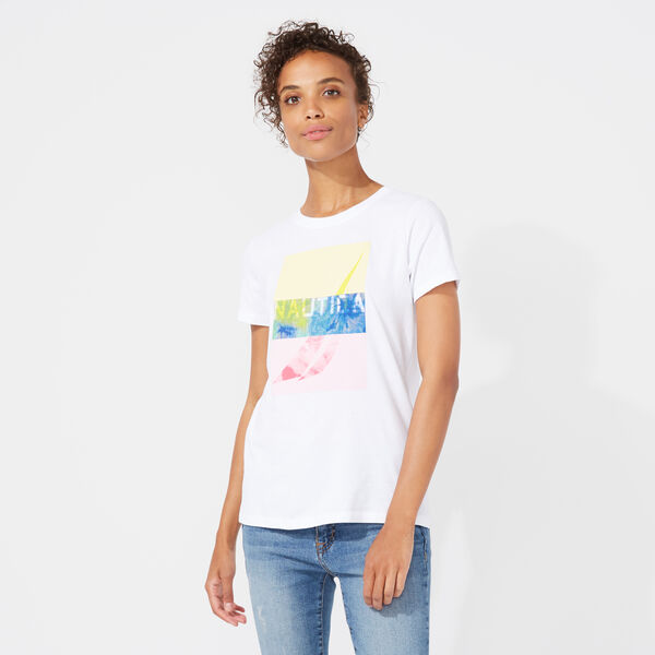 NAUTICA MIAMI TROPICAL GRAPHIC TEE - Bright White