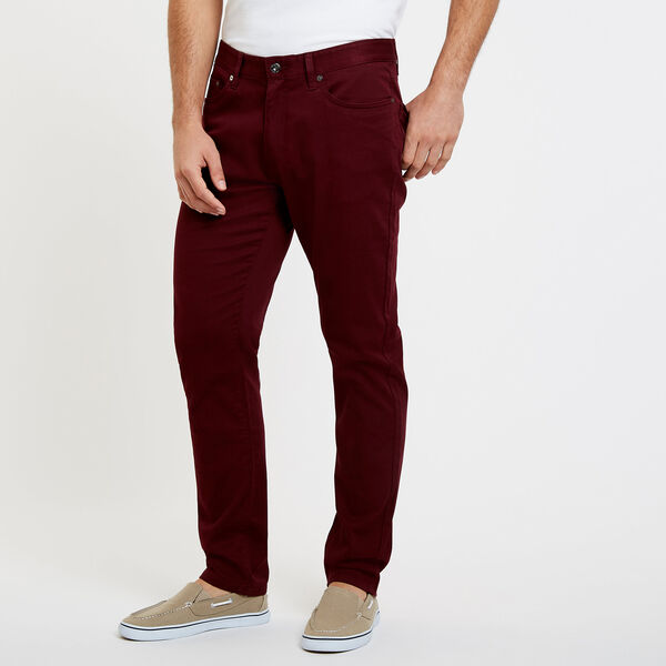 SLIM FIT STRETCH 5-POCKET PANTS - Royal Burgundy