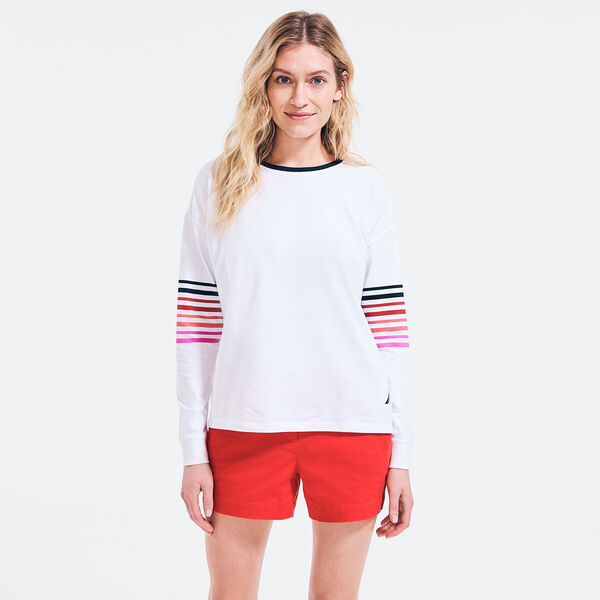 SUSTAINABLY CRAFTED STRIPED SLEEVE TOP - Bright White