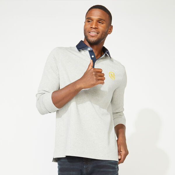NAUTICA JEANS CO. BACK GRAPHIC LONG SLEEVE RUGBY - Grey Heather